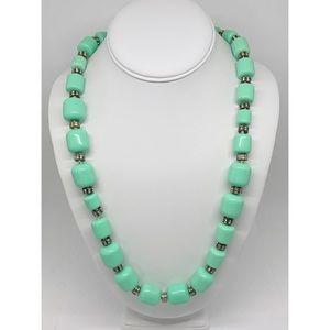 J. Crew Mint Green & Rhinestone Beaded Necklace